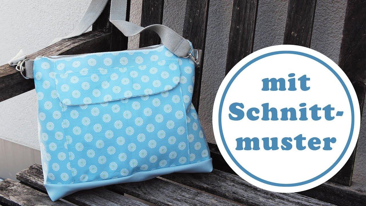 Handtasche nähen mit Schnittmuster mit vielen Innentaschen ...
