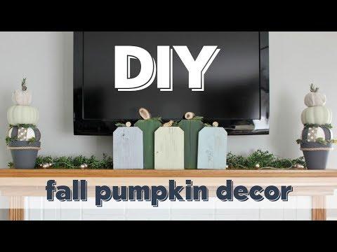 DIY Fall Pumpkin Decor - Scrap Wood Pumpkins & Dollar Tree Fall Topiary