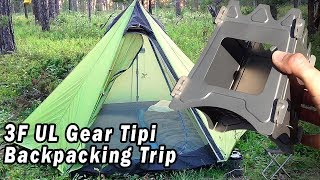 Backpacking Trip with 3F UL Gear Tipi & Titanium Wood Stove -  Burger, S'mores & Jiffy Pop