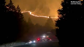Raw: Witness narrates and records Merrill Fire evacuations in Moraga