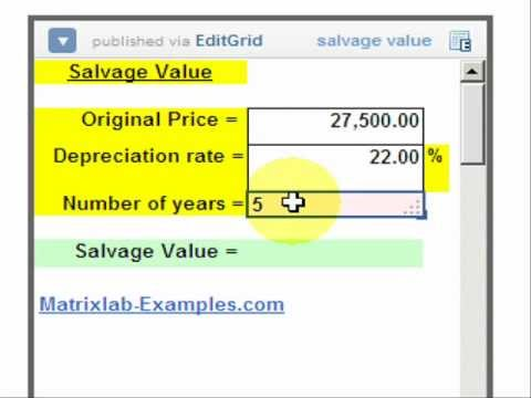 Salvage Value Calculation - YouTube