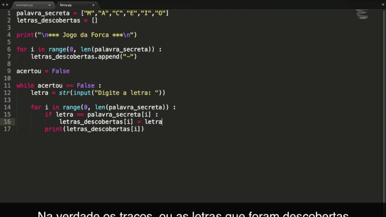 Jogo Da Forca Em Python Youtube