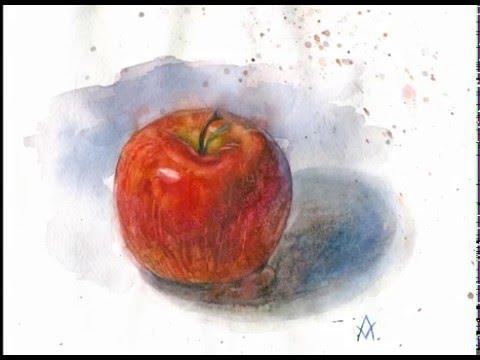 как нарисовать яблоко 2этап - YouTube