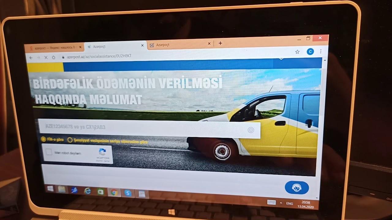 Azerpoct-190 manat müraciətinin yoxlanmasi-e-sosialda qeydiyyat yoxlama#evdeqal