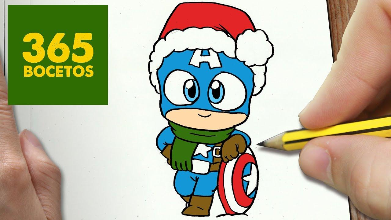 COMO DIBUJAR UN CAPITAN AMERICA PARA NAVIDAD PASO A PASO: Dibujos ...