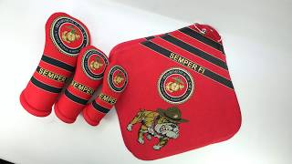 United States Marine Corps USMC golf club head covers and microfiber golf towels by BeeJos