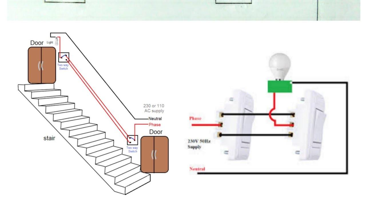 Two way switch ka wiring Hindi mai to Ek lamp ko do Jagah Se Kaise