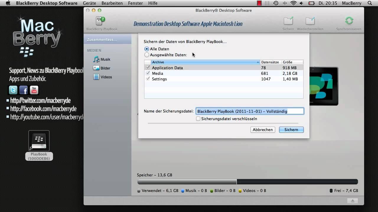 Demo Mac Desktop Software am BlackBerry Playbook