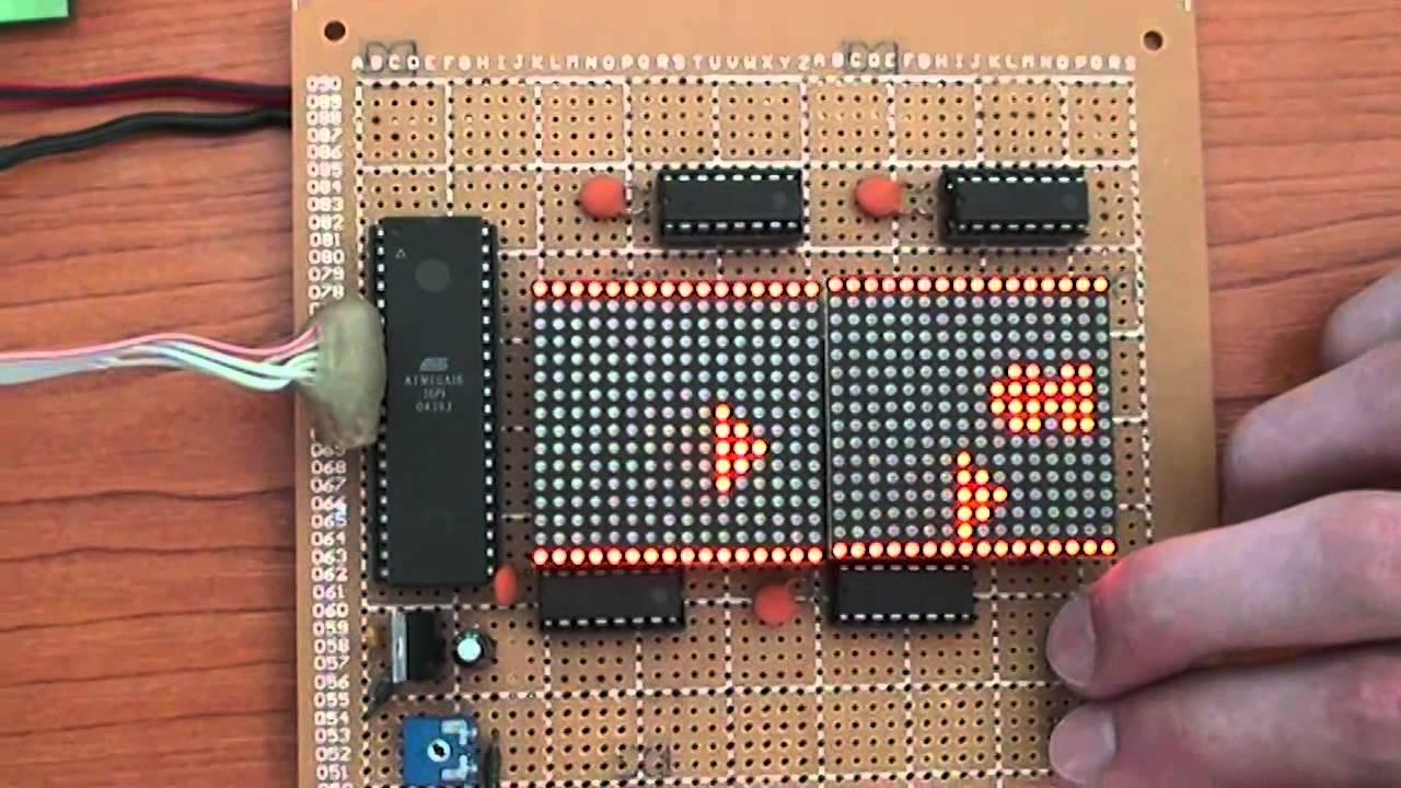 Space Game Atmega16 And Led Matrix Youtube Valentine Chaser