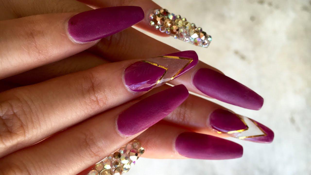 Uñas Acrilicas Purpura Matte - YouTube