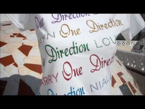 ONE DIRECTION T SHIRT OUR LATEST DESIGN BEAUTIFULL GLITTER TSHIRT WOMENS OR GIRLS