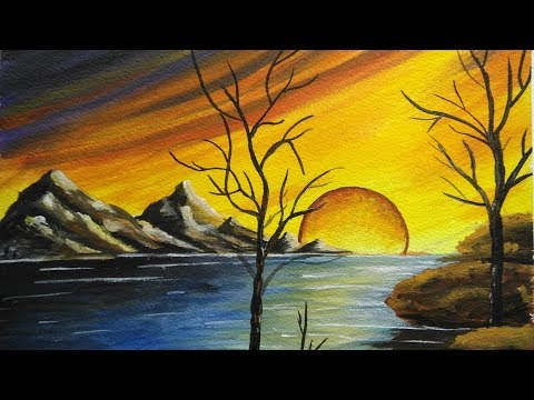 How to paint a beautiful scenery  Sunset  Acrylic Landscape Painting  YouTube