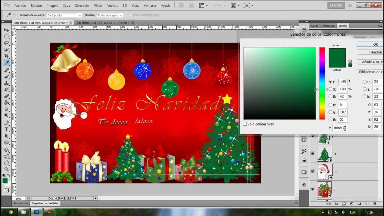 Como hacer una tarjeta de navidad con photoshop youtube - Como realizar tarjetas navidenas ...