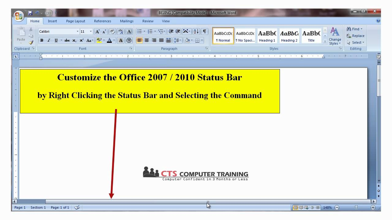 how to add status bar in word 2007