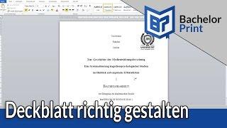 DECKBLATT GESTALTEN |  Bachelorarbeit & Hausarbeit ~ Word 2010