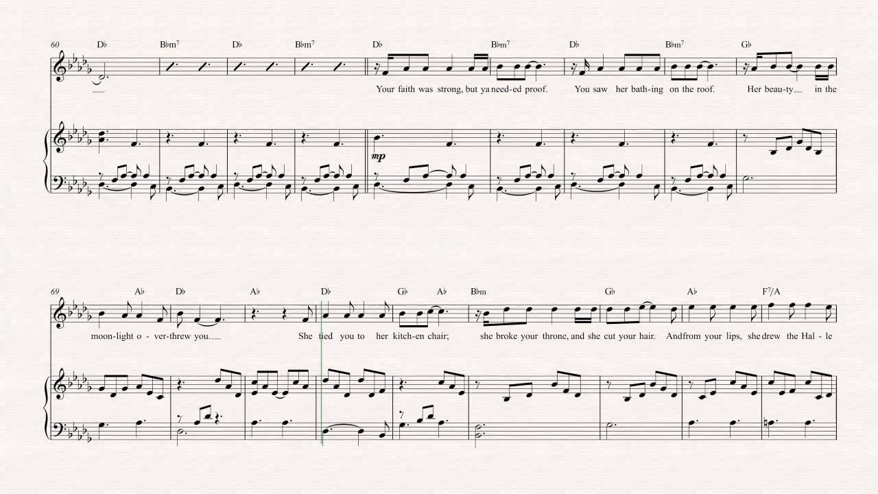 Violin Hallelujah Jeff Buckley Sheet Music Chords Vocals