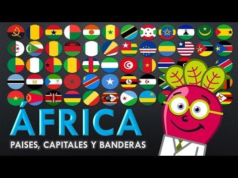AFRICA 🌍 Paises Capitales Banderas para Niños GEO Mapas Mundo