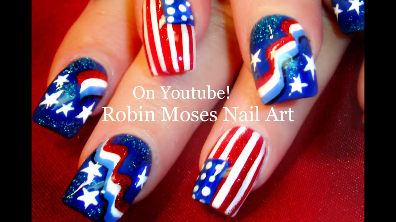 4th of july nail art design tutorial youtube prinsesfo Choice Image