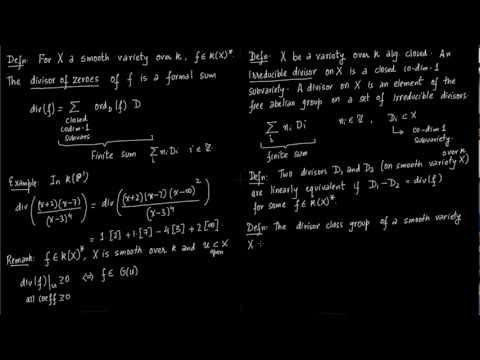 Defn Irred Divisors, Linear Equivalence, Divisor class group
