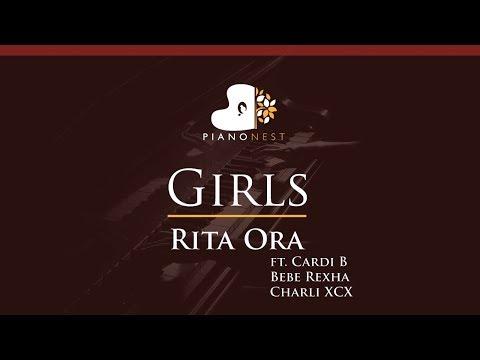 Rita Ora - Girls Ft. Cardi B Bebe Rexha  Charli XCX - HIGHER Key (Piano Karaoke / Sing Along)