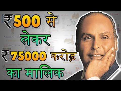 Rs. 500 से लेकर 75000 करोड़ का मालिक - Reliance Industry Founder Dhirubhai Ambani Biography in Hindi