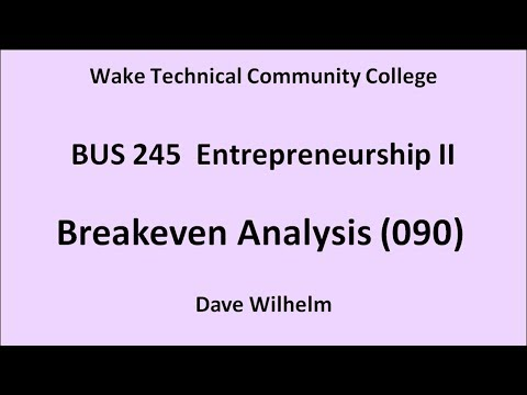 BUS 245 (090) Break Even Analysis