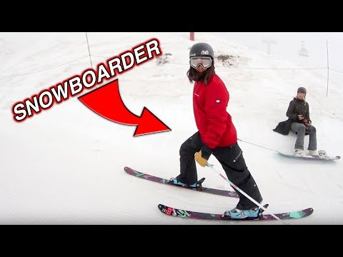 SNOWBOARDER TRIES TO SKI!