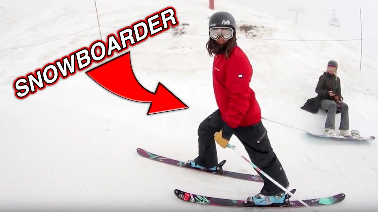 Snowboarder Tries To Ski Youtube