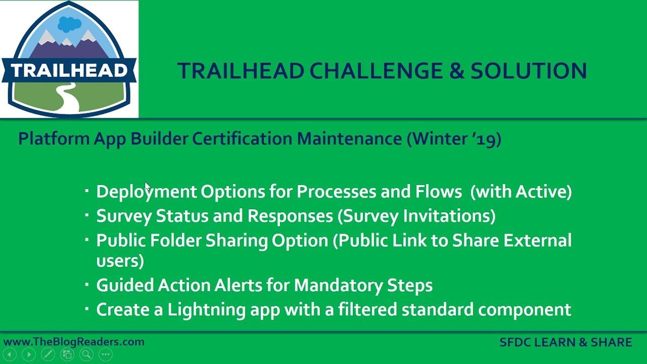 Platform App Builder Certification Maintenance Winter 19 - Trailhead  Challenge