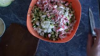 Овощной салат с крабовым мясом