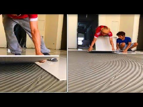 Amazing Construction Techniques Largest Ceramic Tiles Installation On Floor - Technical Paving Tiles