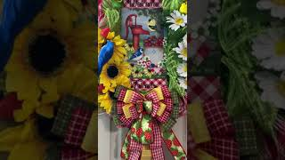 Welcome Friends picnic strawberry wreath