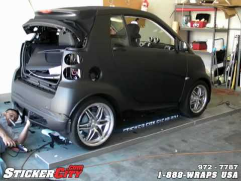 Matte Flat Black Smart Car Vinyl Sticker Wrap YouTube - Plastic stickers for cars