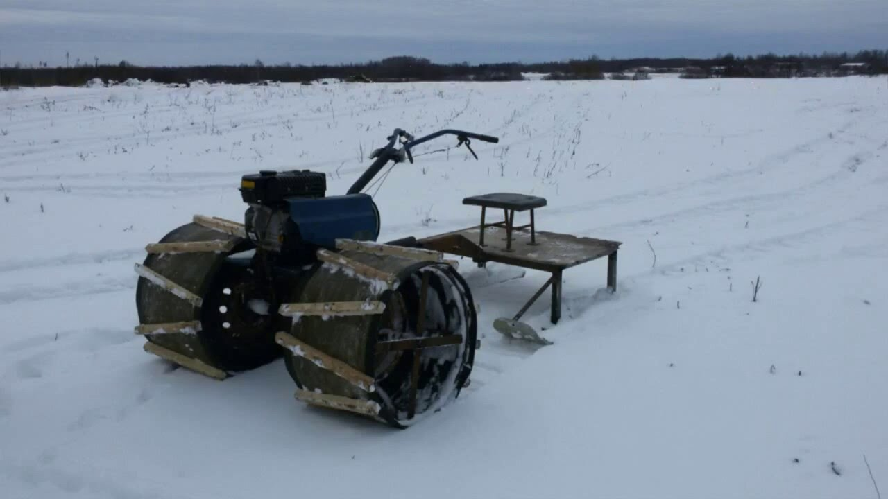 Снегоход к мотоблоку своими руками