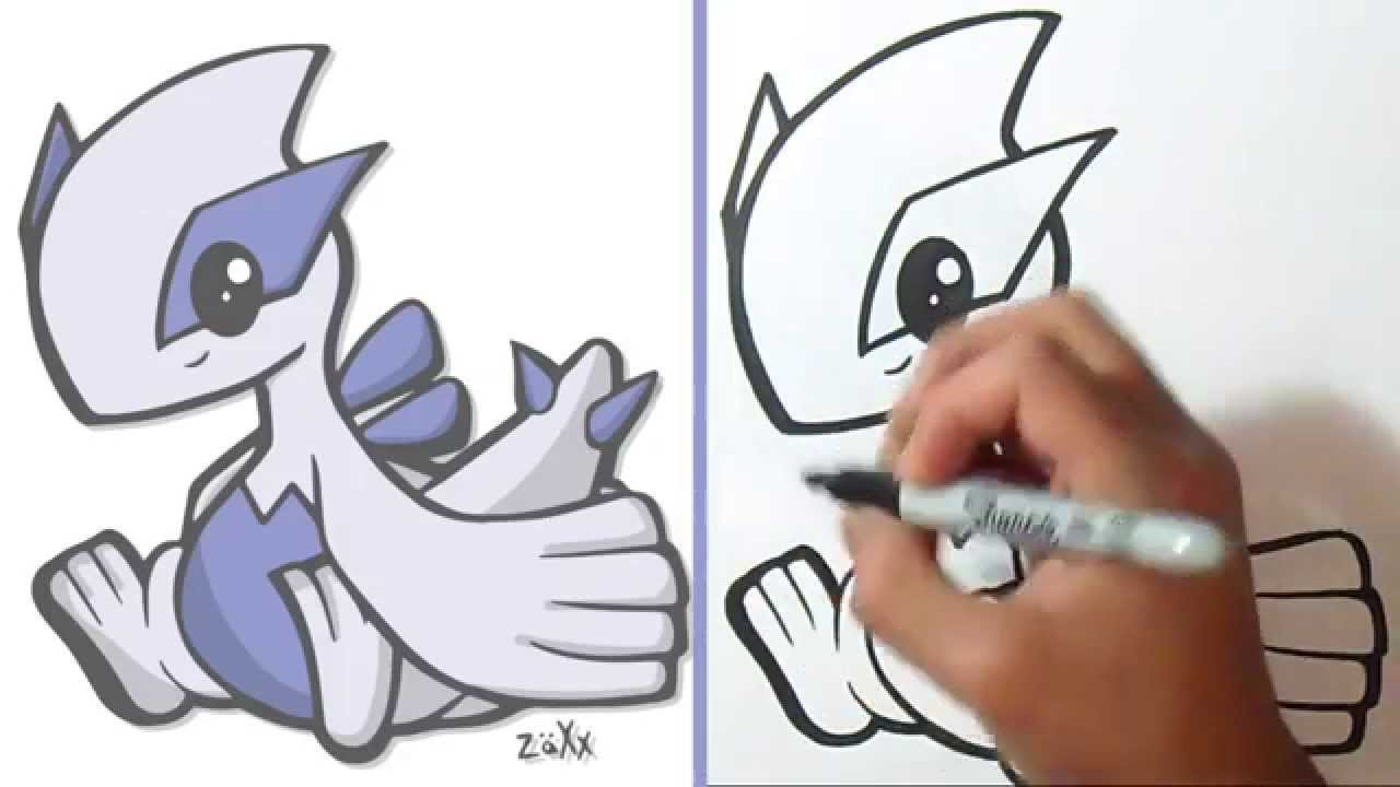 comment dessiner lugia pokmon youtube - Dessin Facile Pokemon