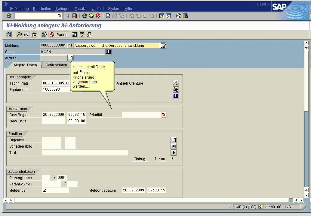 IH Meldung anlegen in SAP PM YouTube