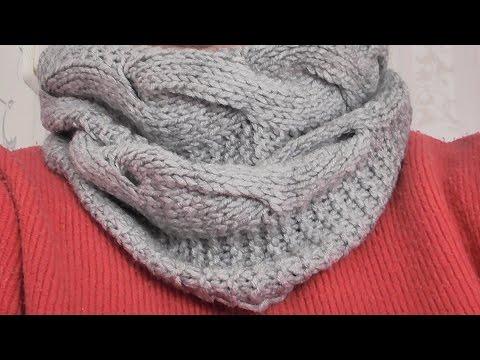 вязание женского шарфа снуда спицами видео урок Youtube