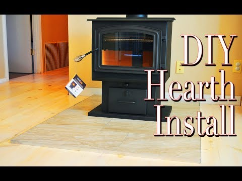 Quick And Easy DIY Hearth For Our New Wood Stove!