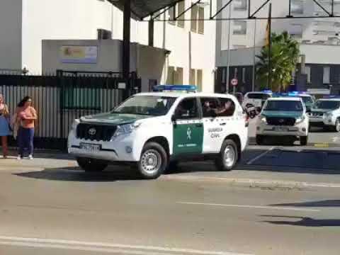 Efectivos de la Guardia Civil de Cádiz, camino de Cataluña