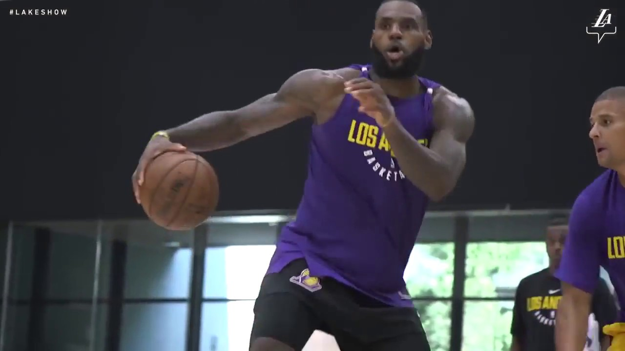 f7d62c388 LEBRON JAMES FIRST PRACTICE WITH LOS ANGELES LAKERS !!! - YouTube