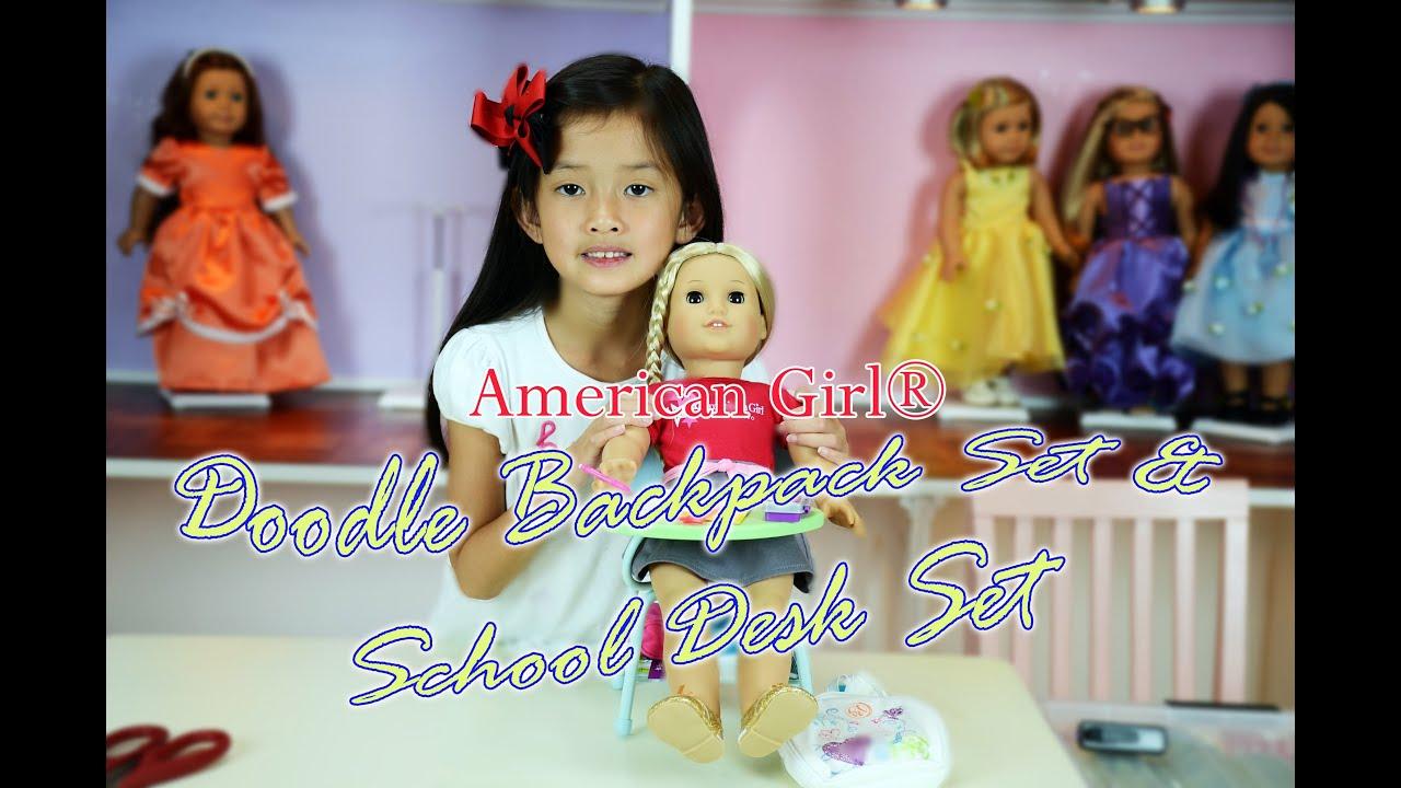 American Girl Doodle Backpack Set School Desk Set For Dolls Youtube