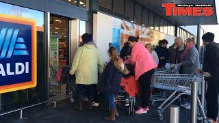 Video Customers queue from 6am outside new Aldi in Welwyn Garden City download MP3, 3GP, MP4, WEBM, AVI, FLV Juli 2018