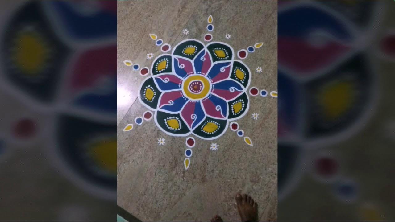 #rangolikolam #painting   Rangoli kolam   simple rangoli k