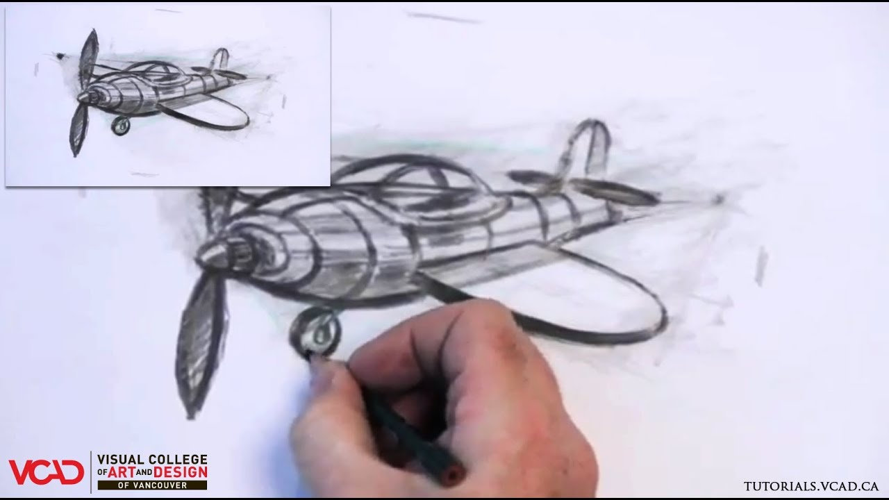 Learn How To Draw A Cartoon Airplane In Two Point Perspective Part 5