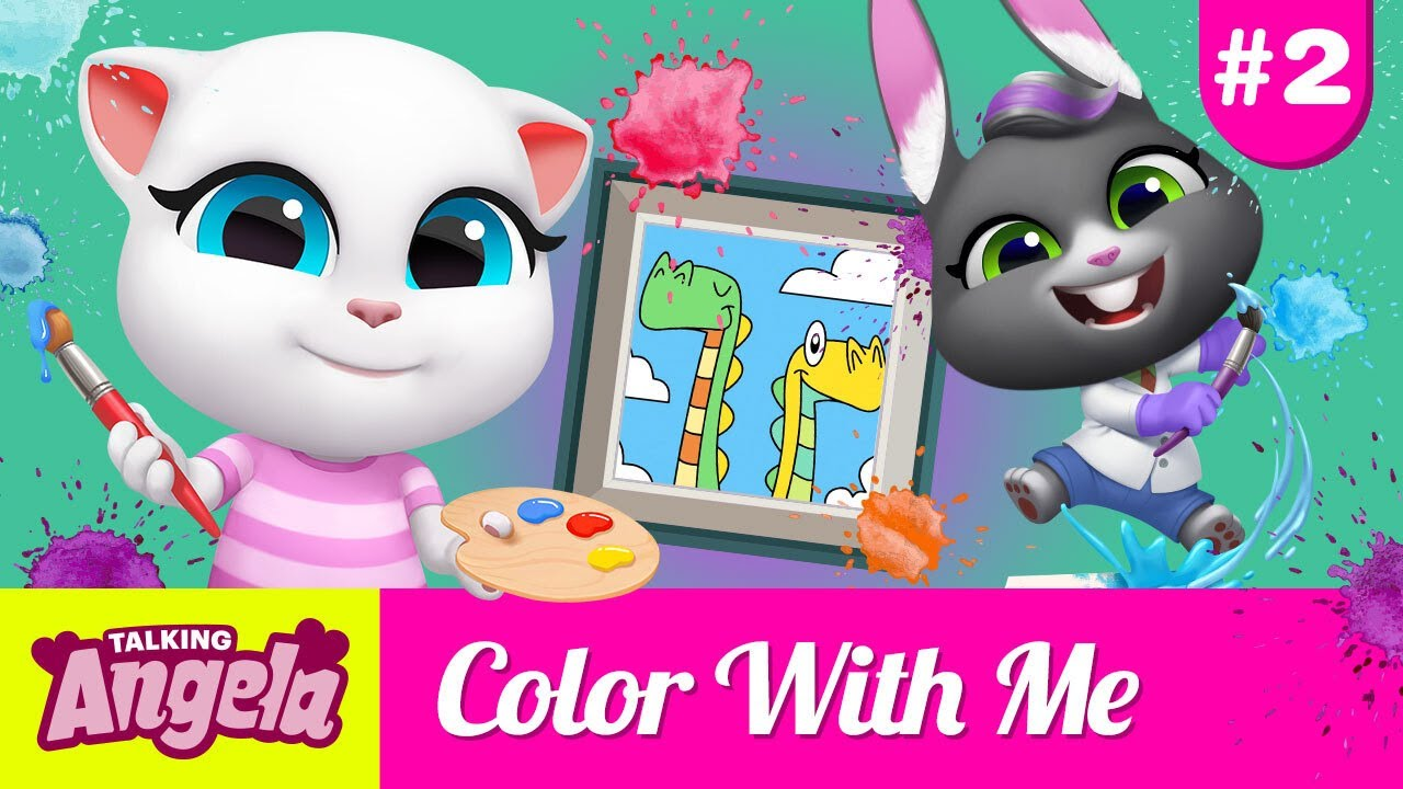 🎨 Let's Paint a DINOSAUR With Talking Becca and Talking Angela (Color With Me #2)