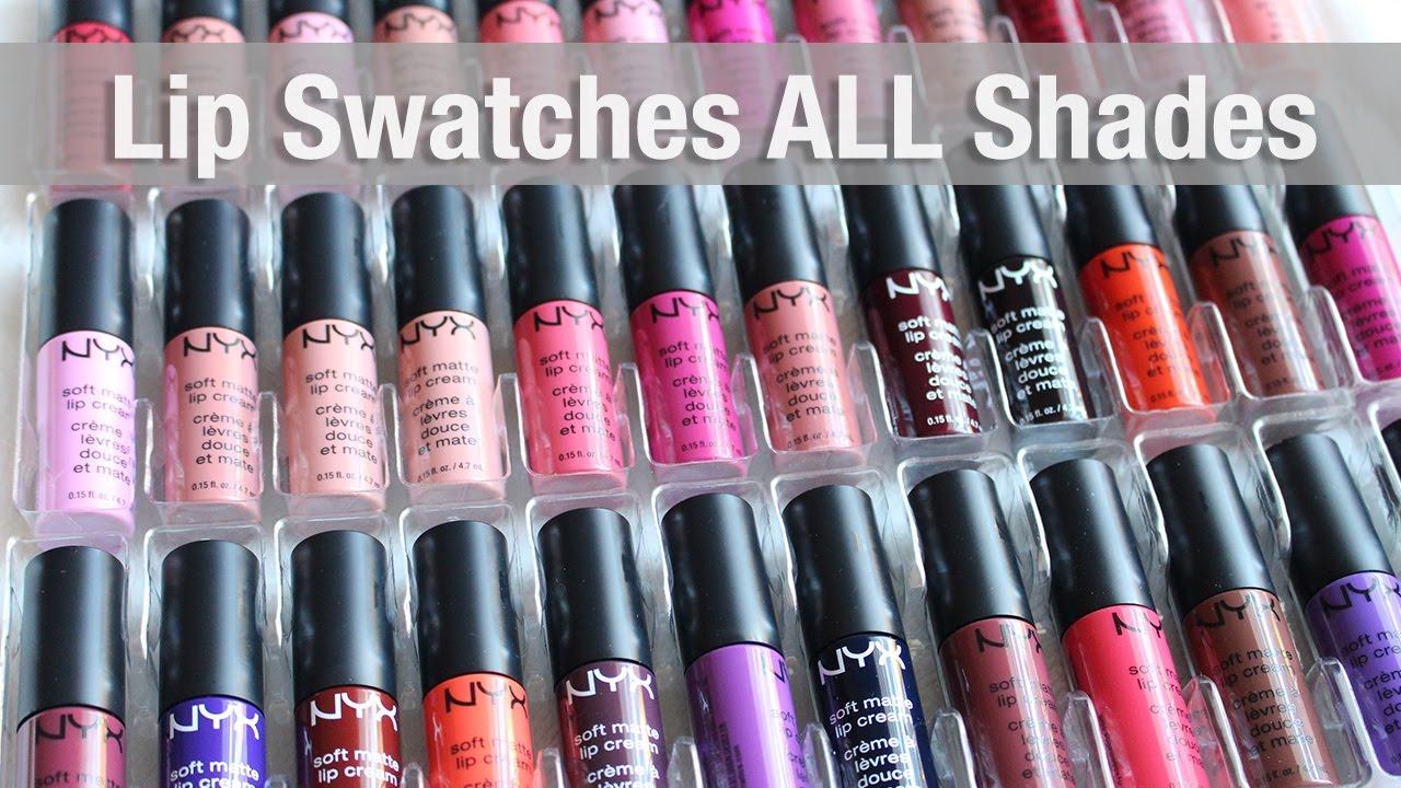 Nyx Soft Matte Lip Cream Lip Swatches All 35 Shades Youtube
