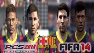 PES 2014 vs FIFA 14 FACE Comparison FC BARCELONA