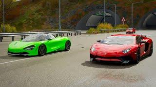 forza Horizon 4 Drag race: Lamborghini Aventador LP750-4 SV vs McLaren 720s