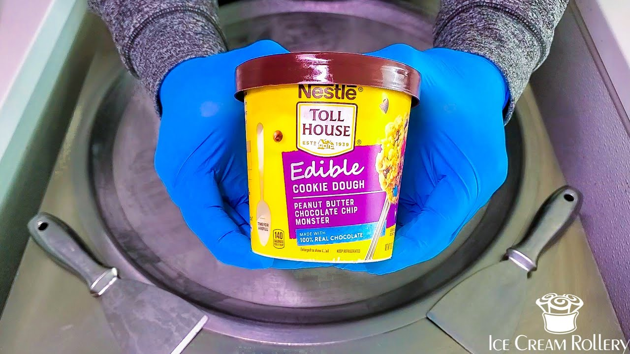 Ice Cream Rolls | Nestle Toll House Edible Cookie Dough with M&M's | Asmr