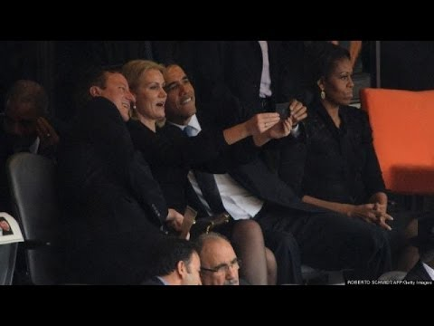 Obama Selfie At Mandela Service